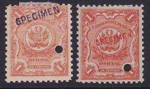 PERU 1909 OFFICIAL 1c(2) optd SPECIMEN in red or black+ security punch hole.7982