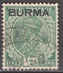 Burma; 1937: Sc. # 2: O/Used Single Stamp