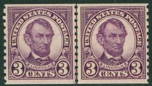 USA : 1924. Scott #600 Line Pair. Very Fine, Mint Never Hinged PO Fresh. Cat $60