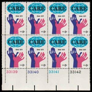 PCBstamps    US #1439 PB 64c(8x8c)Care, 1971, MNH, (3)