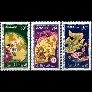 MAURITANIA 1970 - Scott# C94-6 Osaka Expo. Set of 3 LH
