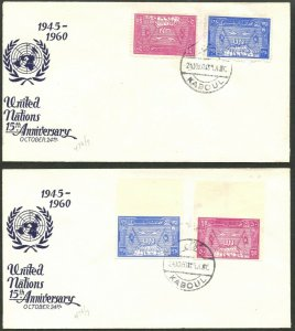 AFGHANISTAN Sc#476-477 1960 UN Perf, Imperf & S/s on 3 Rare Unaddr FDCs