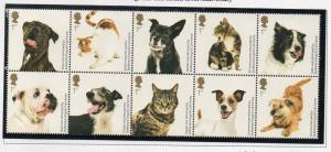 Great Britain Sc 2766a 2010 Dogs & Cats stamp block of 10 mint NH