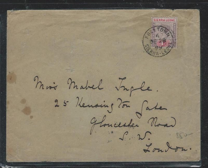 SIERRA LEONE (P0404B) 1899 QV 1D COVER TO LONDON