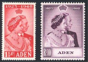 Aden 1948 1 1/2a - 10R Silver Wedding SG 30-31 Sc 30-31 UMM/MNH Cat £40($52)