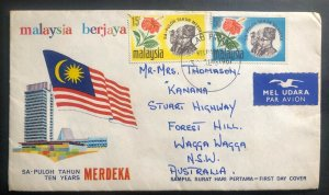 1967 Pulau Pinang Malaysia First Day Cover To Australia Merdeka Ten Years Annive