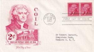 1954, 2c Jefferson Coil Pair, Art Master, FDC (E11363)