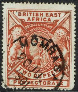 BRITISH EAST AFRICA 1897 QV LIONS 2R USED
