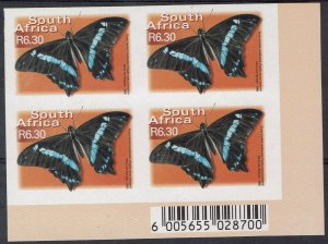 SOUTH AFRICA 2000 BUTTERFLY R6.30 IMPERF BLOCK MNH **