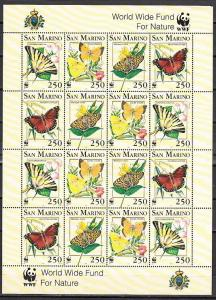 San Marino, Scott cat. 1281-1284. Butterflies-World Wildlife Fund sheet of 4. ^