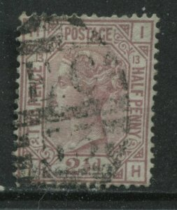 1876 2 1/2d rosy mauve Plate13 lettered IH used with London numeral EC53