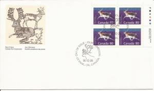 1990 Canada FDC Sc 1180 - Mammals - Peary Caribou - PB UR