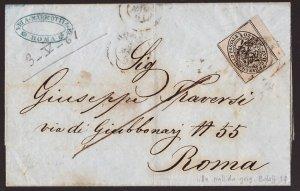 Pontificio, circolare dell'aprile 1861 con 1/2 baj grigio lilla isolato -DL49