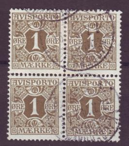 J16636 JLstamps 1907 denmark blk/4 used #p1 newspaper stamp