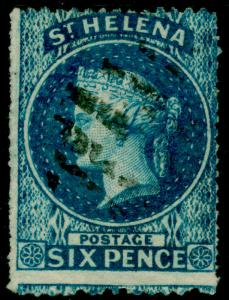 ST. HELENA SG2a, 6d blue, FINE USED. Cat £130.