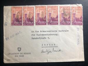 1951 Swiss Legation India Airmail Cover To Zurich Switzerland Asian Games Stamp