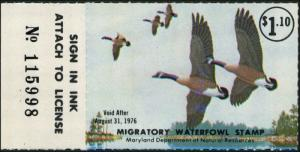 MARYLAND #2 1975 STATE DUCK STAMP CANADA GEESE  by Stanley Stearns