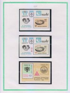 ARGENTINA 1970-85 COLLECTION ON 22 ALBUM PAGES 171 STAMPS & 6 SOUVENIR SHEETS