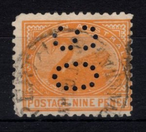 Western Australia #82B Used With Unlisted State Perfin CAT VALUE $185.00