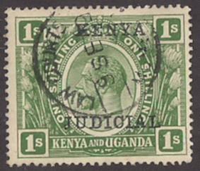 1sh Kenya Judicial Stamp clear cnl Barefoot £75 quite VF