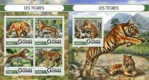 Guinea 2016 wild animals wild cats tigres  klb+s/s MNH