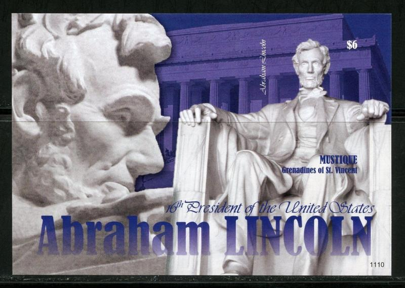 MUSTIQUE   16th PRESIDENT ABRAHAM LINCOLN  IMPERFORATE SOUVENIR SHEET   MINT NH