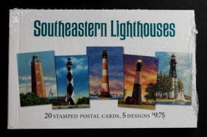 U.S. Booklet of 20 Cards Sc# UX395-UX399 4-each Original Packaging Lighthouses