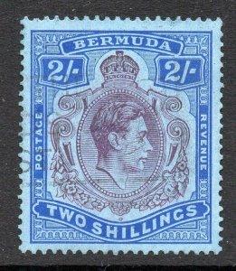Bermuda 1938 KGVI 2/- Keyplate deep purple, chalk paper, perf 14 SG 116 used