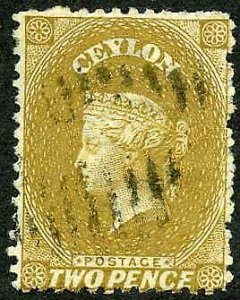 Ceylon SG64b 2d Bistre wmk Crown CC 21.5 mm Cat 9.5 pounds