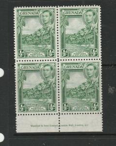 Grenada 1938/50 1/2d Yellow Green, P12.5, Imprint block 4, MM & UM/MNH SG 153