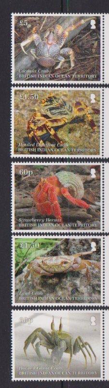 2020 BIOT Crustaceans - Crabs ((5)  (Scott NA) MNH