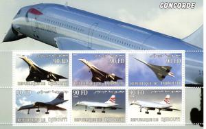 Djibouti 2004 Concorde (6) Souvenir Sheet Perforated  # Dji 17/22C  MNH