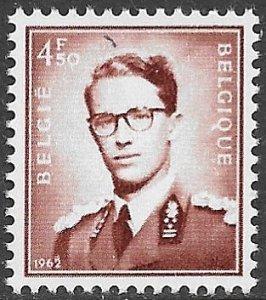 BELGIUM 1953-72 4.50fr Dark Red Brown King Baudouin Portrait Issue Sc 458 MNH
