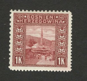 BOSNIA AUSTRIA- MH STAMP, 1K - MIXED PERFORATION  12½ : 9¼  : 10½ : 12½ - 1906.