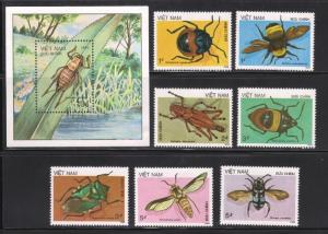 Viet Nam 1705-1713, MNH, Insects 1987. x28044