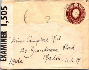 1941 WWII censored GB 1½d postal stationery Scotland to London
