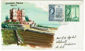 Malta 1960 Gzira cancel on HANDPAINTED cover to the U.S.