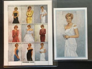 1997 Togo Princess Diana in Designer Gowns, 1 sheet of 9 and 1 SS Sc#1798/1804