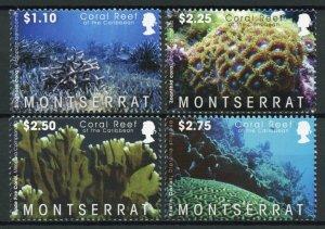 Montserrat Corals Stamps 2009 MNH Coral Reef of Caribbean Marine 4v Set
