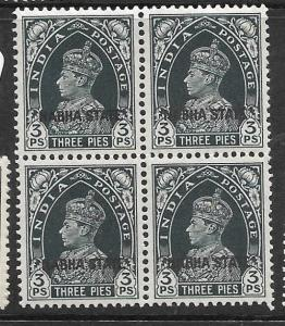 INDIA NABHA (P3009B) KGVI 3P  SG77  BL OF 4   MNH