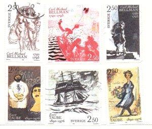 Sweden Sc 1831-6 1990 Taube & Bellman stamp set used