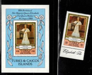 Turks and Caicos Islands Scott 440-441 QE2 80th B day stamp and mini sheet