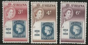 Saint Helena Scott 153-155 MH* 1956 stamp on stamp design