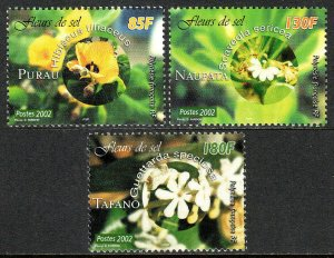 French Polynesia 837-839, MNH. Halophilic Flowers, 2002