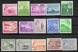 Mauritius # 251-65  QE II Definitives  1953-54 complete  (15) VLH/NH