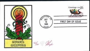 Beautiful Pugh Designed and Painted FDC Season Greetings 1989  #12 of only 175