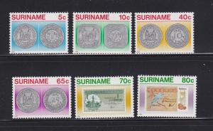Surinam 635-640 Set MNH Coins on Stamps (A)