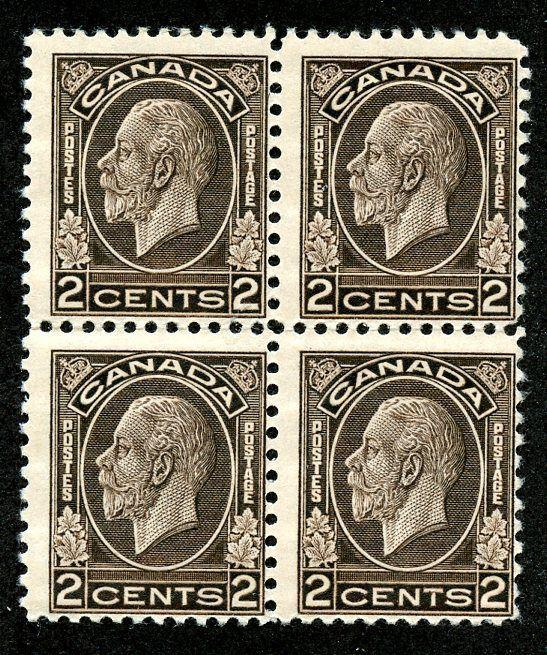Canada Scott 196 F MNH Block of 4 Picturing King George V