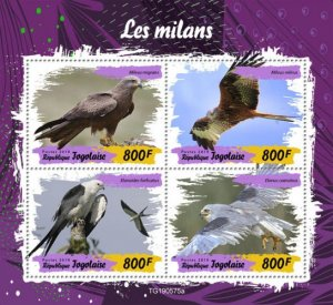 TOGO - 2019 - Birds : Kites - Perf 4v Sheet - M N H