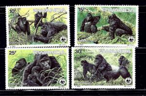 Rwanda 1208-11 MH 1985 Gorillas